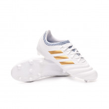 Zapatos de fútbol Copa 19.3 FG Niño White-Gold metallic-Football blue