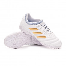 Football Boot Copa 19.3 Turf Niño White-Gold metallic-Football blue