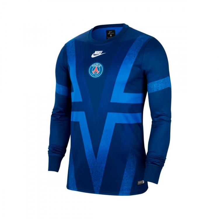 Sweatshirt Nike Paris Saint Germain Dry Crew Pmv Cl 2019 2020 Blue Void Hyper Royal White Football Store Futbol Emotion