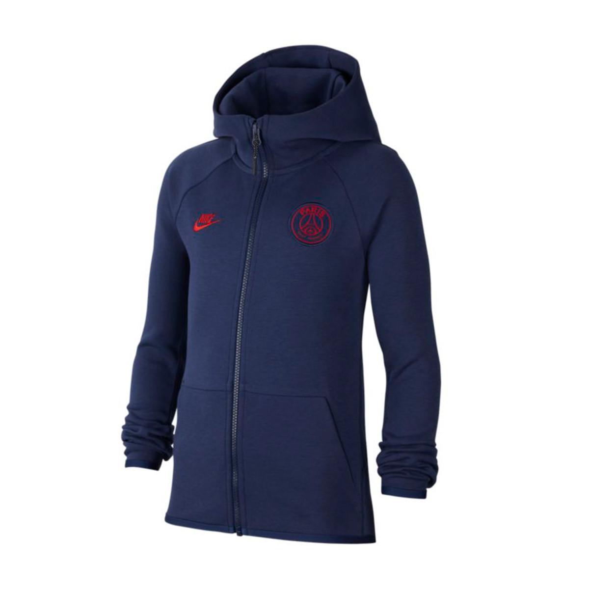 Jacket Nike Paris Saint Germain Nsw Tech Fleece Fz Essentials Cl 2019 2020 Nino Midnight Navy University Red Football Store Futbol Emotion