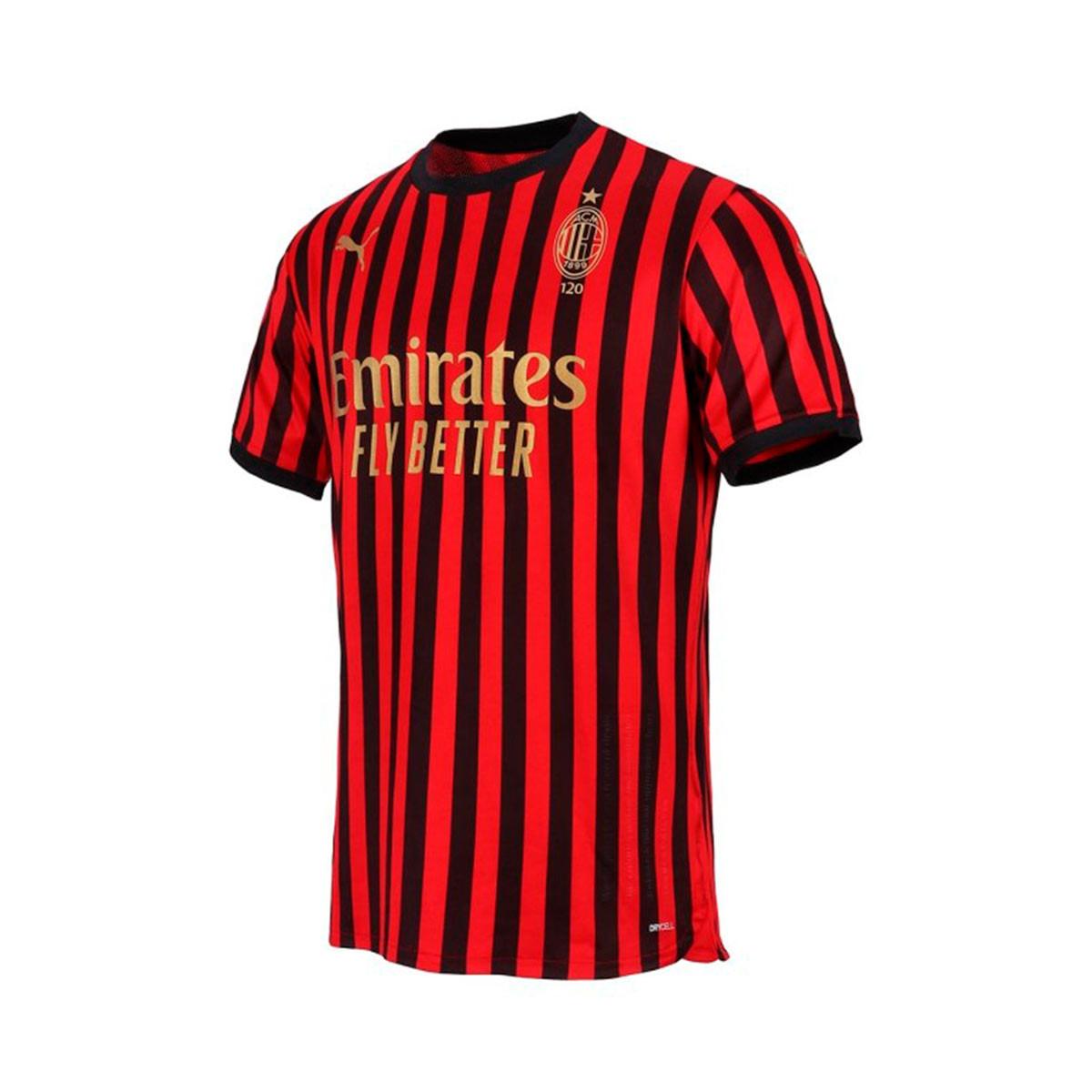 Jersey Puma Ac Milan Home Shirt Authentic 120 Years Tango Red Puma Black Football Store Futbol Emotion