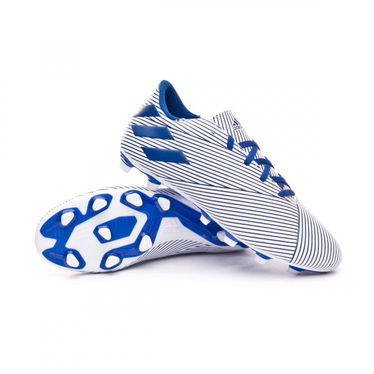 Chaussure de foot adidas Nemeziz19.4 FXG White Team royal