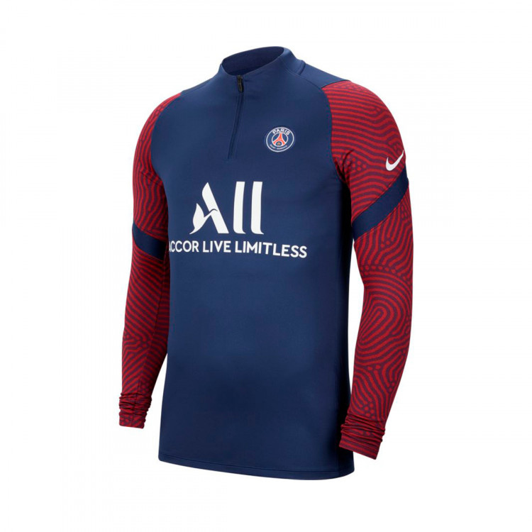Sweatshirt Nike Paris Saint Germain Dri Fit Strike Dril Top 2020 2021 Midnight Navy White Football Store Futbol Emotion