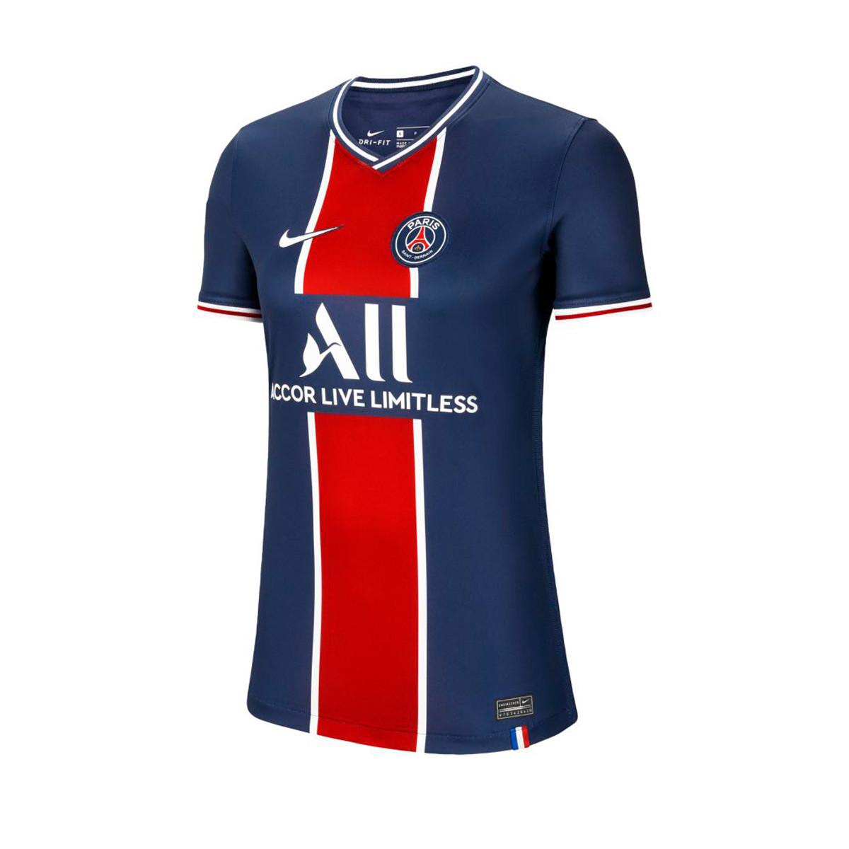 Jersey Nike Paris Saint Germain Stadium Primera Equipacion 2020 2021 Mujer Midnight Navy White Football Store Futbol Emotion