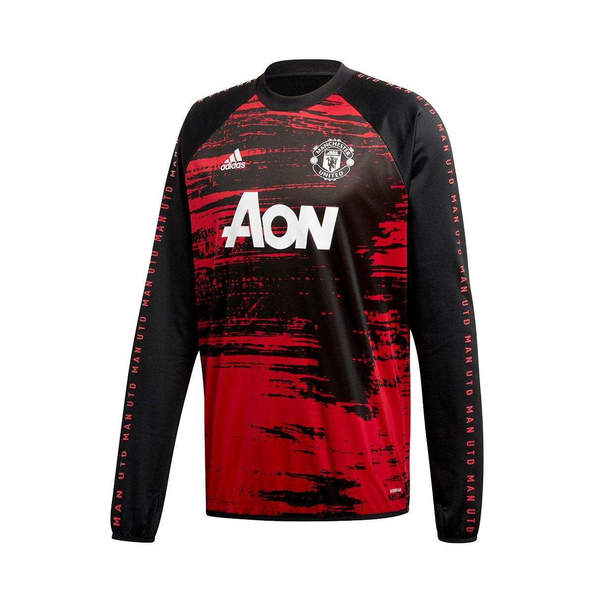 Sweatshirt Adidas Manchester United Fc Pre Match Warm Top 2020 2021 Real Red Black Football Store Futbol Emotion