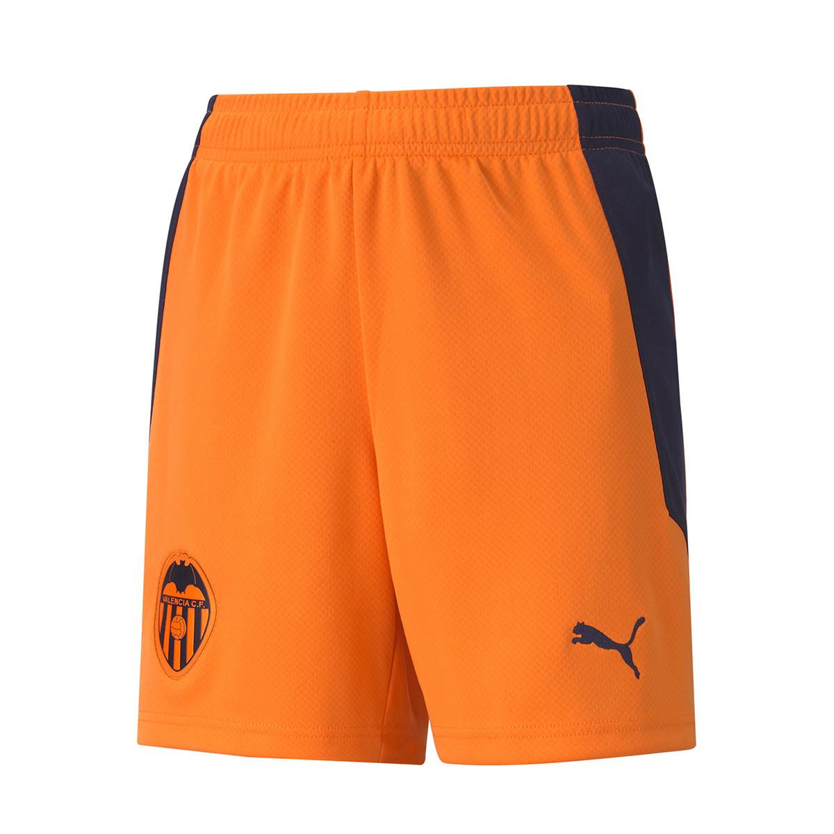 Pantalon Corto Puma Valencia Cf Segunda Equipacion 2020 2021 Nino Vibrant Orange Peacoat Tienda De Futbol Futbol Emotion