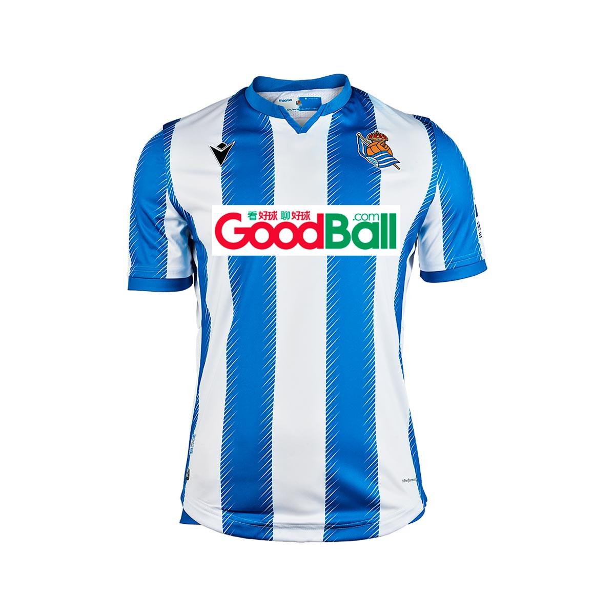 Blue-White Camiseta Macron Real Sociedad Primera Equipaci/ón 2019-2020