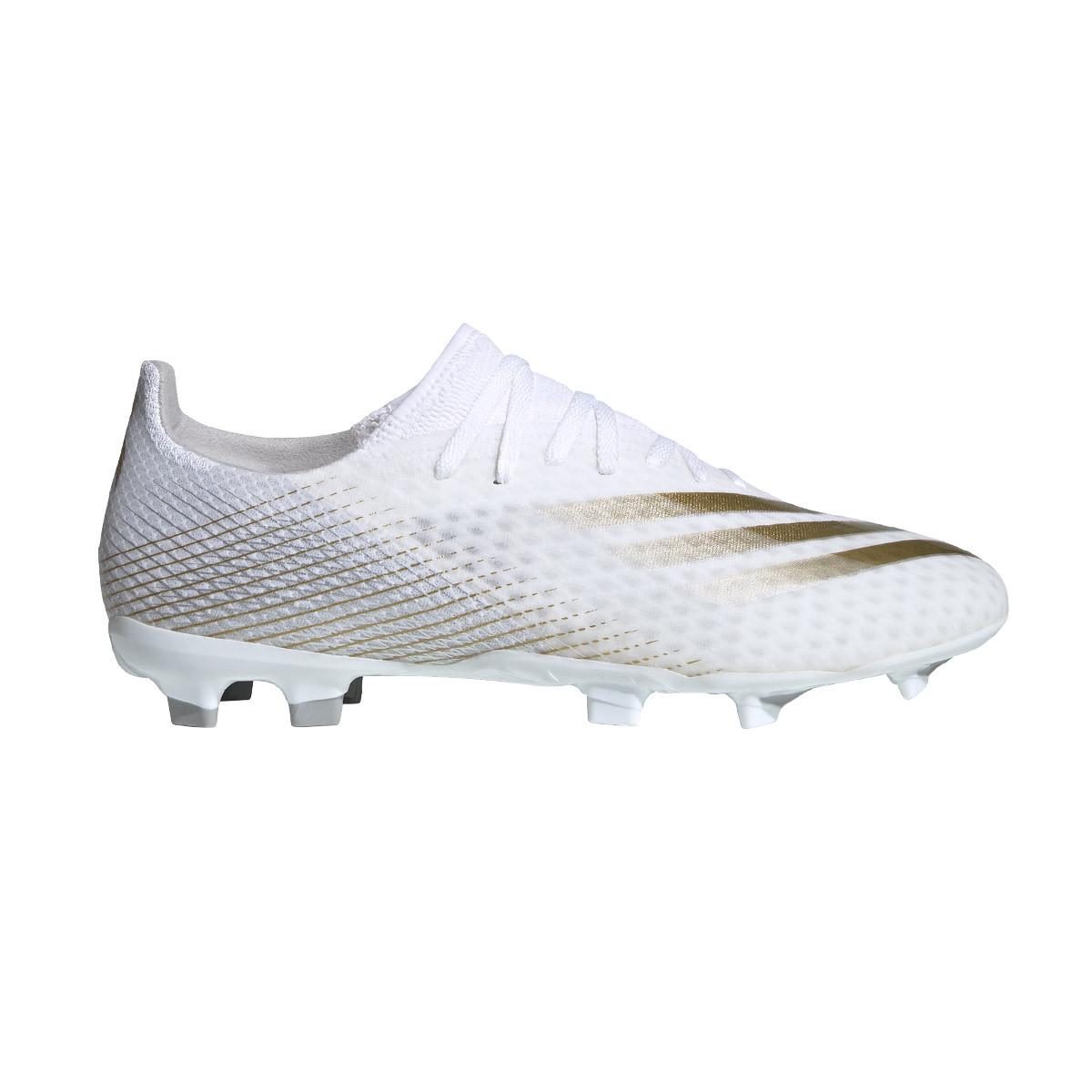 Football Boots Adidas X Ghosted 3 Fg White Metallic Gold Melange Silver Metallic Football Store Futbol Emotion