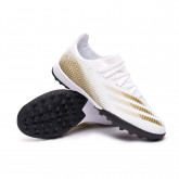 Football Boots X Ghosted.3 Turf Kid White-Metallic gold melange-Core black