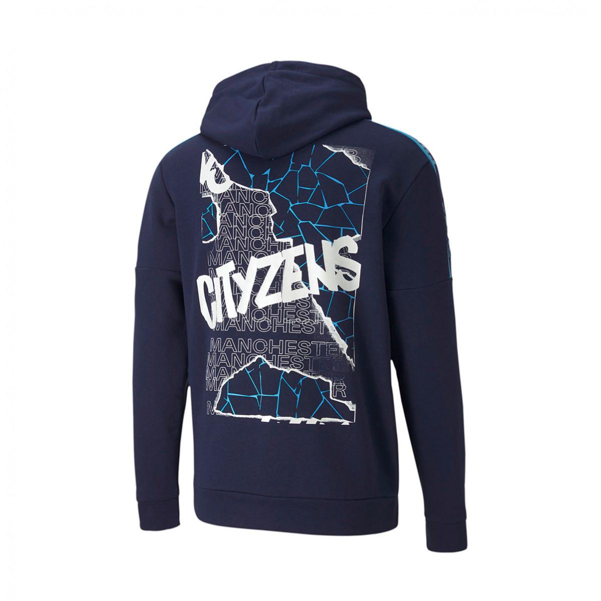 Sweatshirt Puma Manchester City Fc Ftblculture Hoody 2020 2021 Peacoat Team Light Blue Futbol Emotion