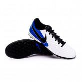 Zapatos de fútbol Tiempo Legend VIII Academy Turf White-Black-Hyper royal-Metallic silver