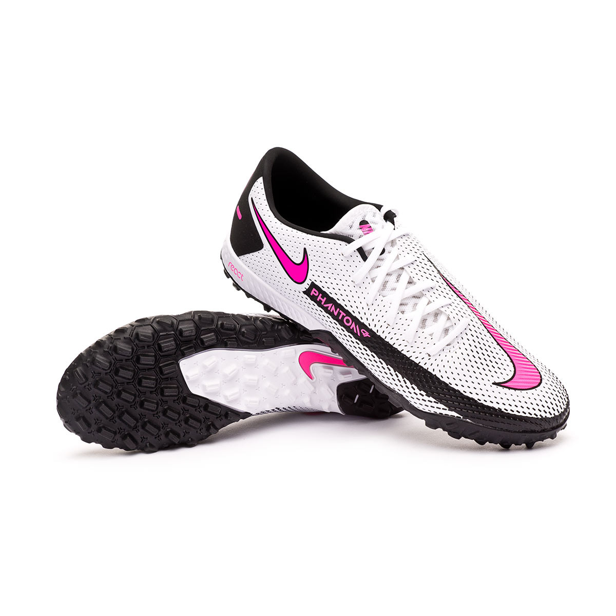 Football Boots Nike React Phantom GT Pro Turf White-Pink blast ...