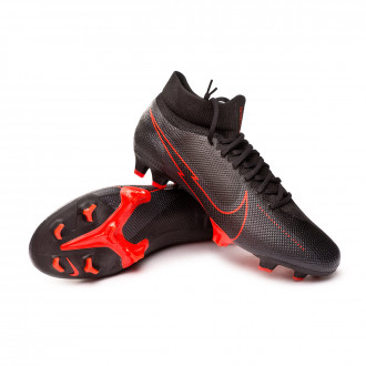 Mercurial Superfly VII Pro FG Black-Dark smoke grey-Chile red