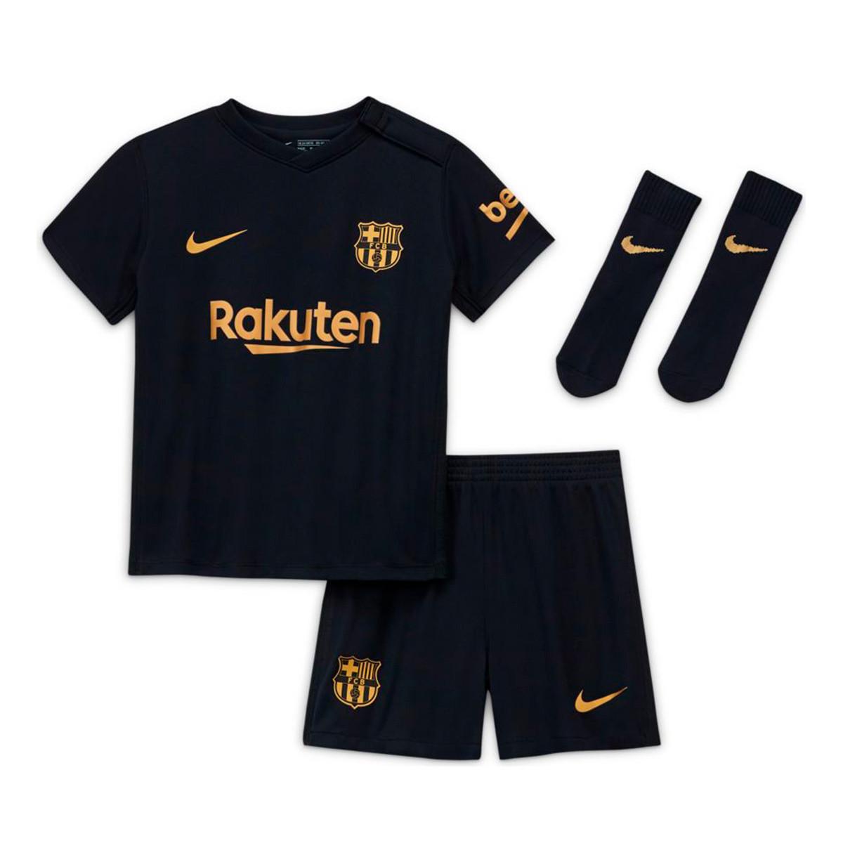 Kit Nike Fc Barcelona Segunda Equipacion 2020 2021 Bebe Black Metallic Gold Football Store Futbol Emotion