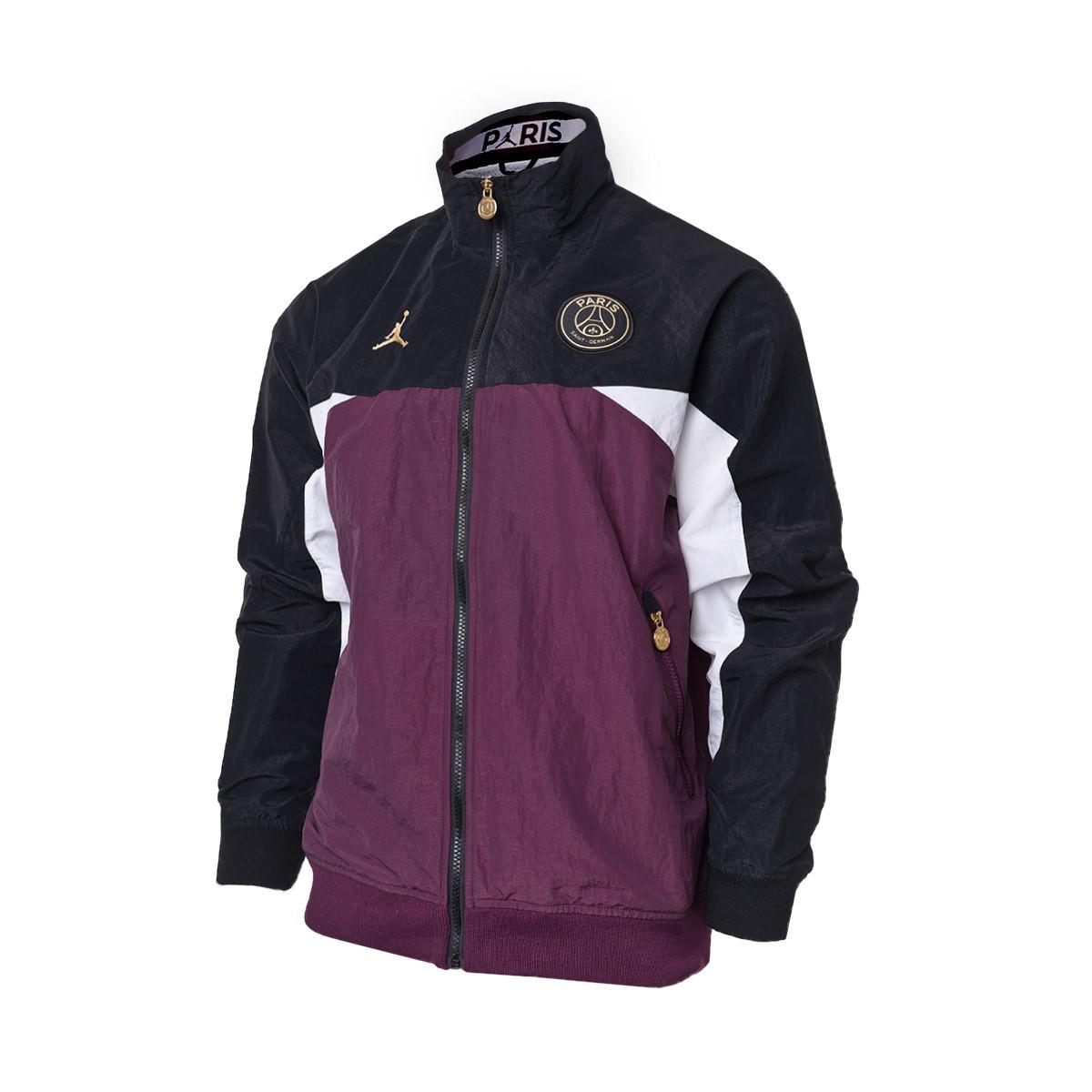 fatiga cobija Senado  Jacket Nike Jordan x Paris Saint-Germain Full-zip 2020-2021  Black-Bordeaux-White-Metallic gold - Football store Fútbol Emotion