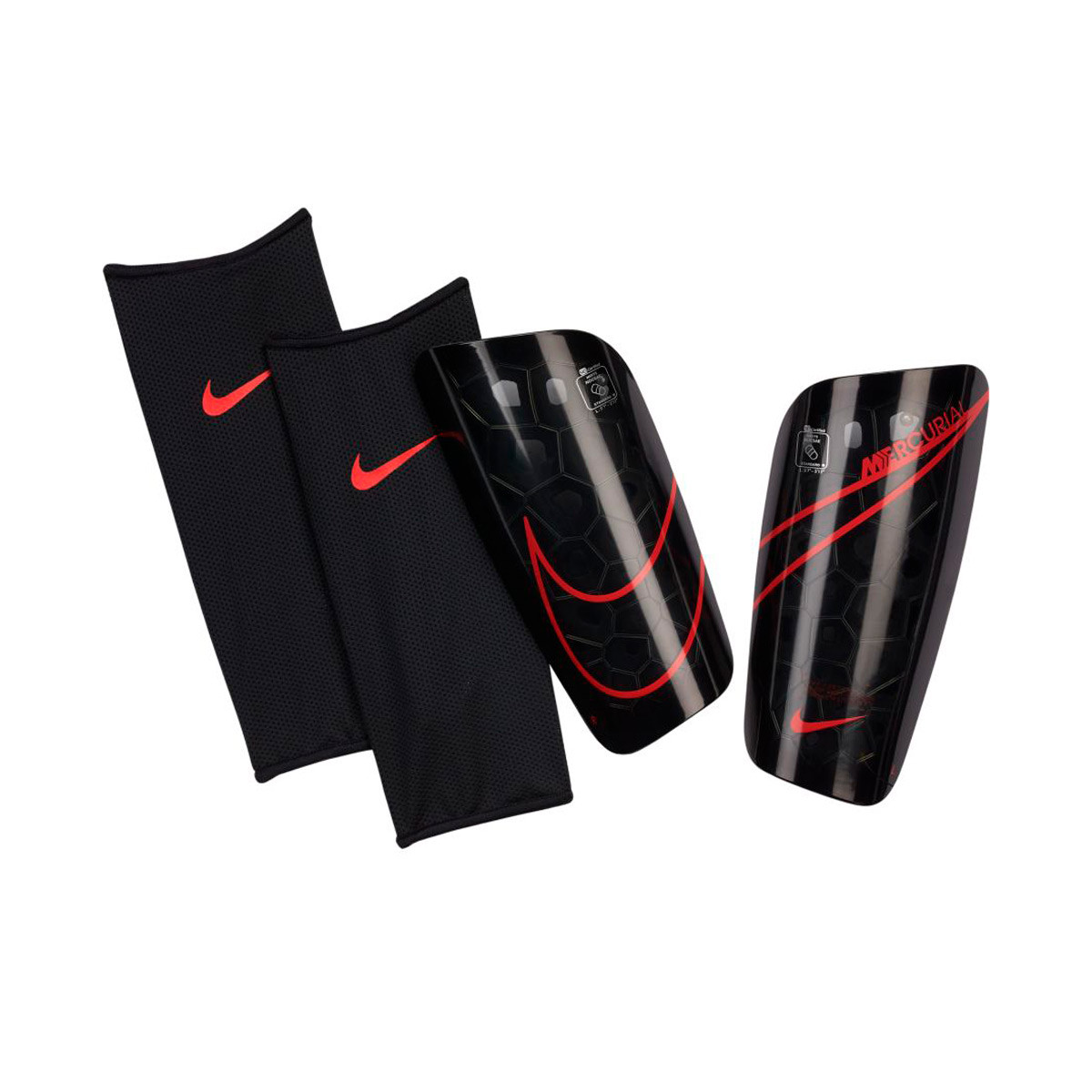 Mujer hermosa inalámbrico Persona enferma  Shinpads Nike Mercurial Lite Black-Black-Chile red - Football store Fútbol  Emotion