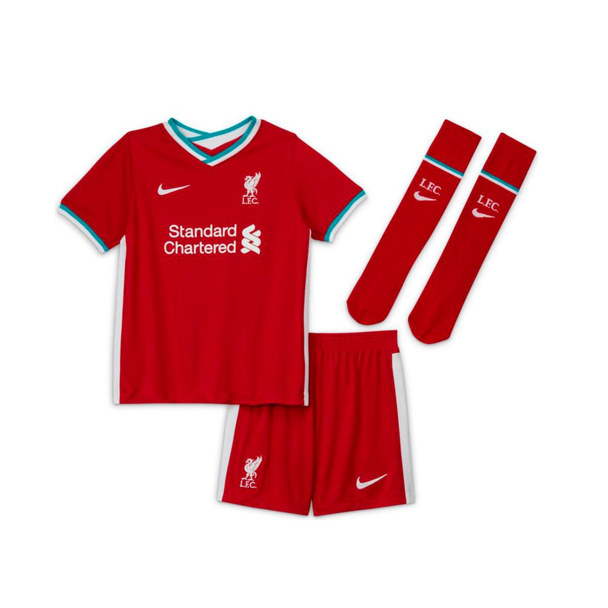 kit nike liverpool fc primera equipacion 2020 2021 nino gym red white football store futbol emotion football boots