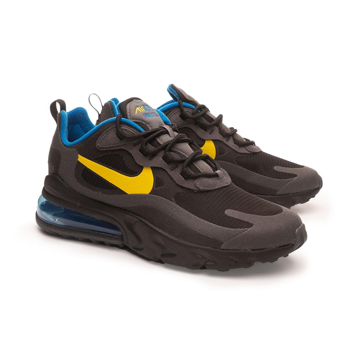 Baskets Nike Air Max 270 React Black-Tour yellow-Dark grey-Blue ...