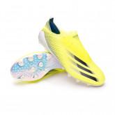 Zapatos de fútbol X Ghosted+ AG Solar yellow-Black-Team royal blue