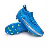 Football Boots Kids Phantom GT Academy DF FG/MG Photo blue-Metallic silver-Rage green-Black