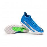 Football Boots Kids Phantom GT Academy DF Turf Photo blue-Metallic silver-Rage green-Black