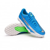 Football Boots Kids Phantom GT Academy Turf Photo blue-Metallic silver-Rage green-Black