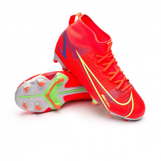 Kids Mercurial Superfly 8 Academy FG/MG Bright crimson-Metallic silver-Indigo burst
