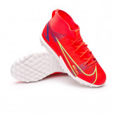 Football Boots Kids Mercurial Superfly 8 Academy Turf Bright crimson-Metallic silver-Indigo burst