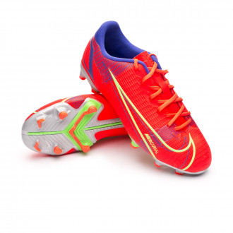 Kids Mercurial Vapor 14 Academy FG/MG Bright crimson-Metallic silver-Indigo burst