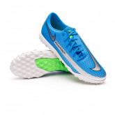 Football Boots React Phantom GT Pro Turf Photo blue-Metallic silver-Rage green-Black