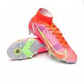 Zapatos de fútbol Mercurial Superfly 8 Elite SG-PRO Anti-Clog Bright crimson-Metallic silver-Indigo burst