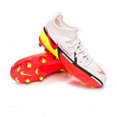 Zapatos de fútbol Phantom GT2 Academy DF FG/MG Niño White-Bright crimson-Volt-Black