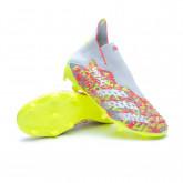 Chaussure de foot Predator Freak + FG Niño Cold grey-White-Solar yellow