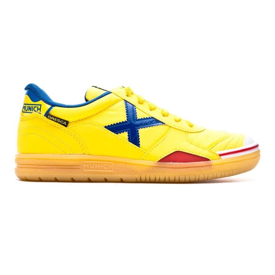 Futsal Boot Munich Gresca Yellow-Blue-Caramel - Leaked soccer 86263b70eba61
