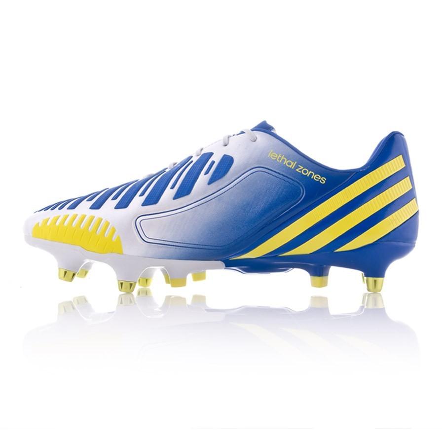 Bota Adidas Predator LZ xtrx SG blanco azul amarillo tienda de futbol
