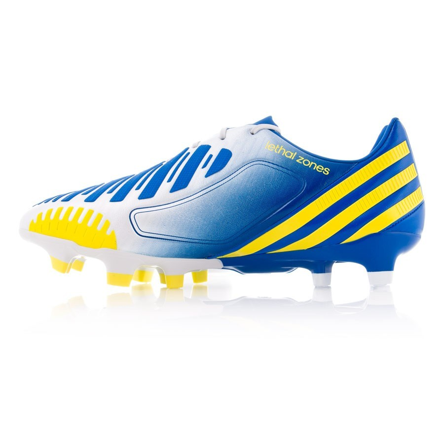 e8ef2a784957 Football Boots adidas Predator LZ TRX FG White-Blue-Yellow - Football store  Fútbol Emotion