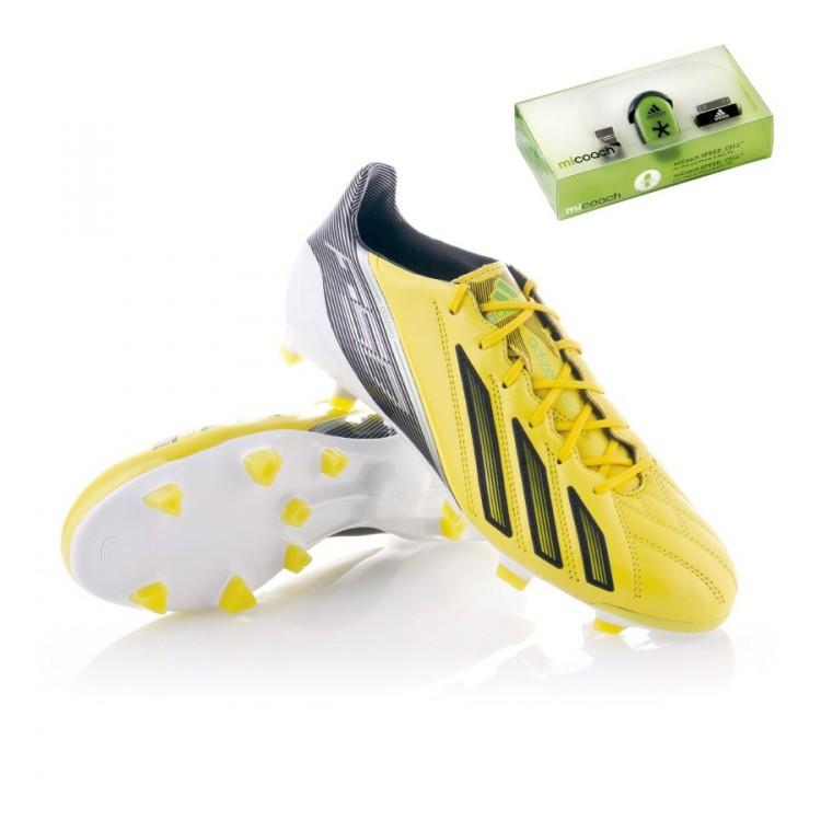 cfbf67d49d0bc Zapatos de fútbol adidas adizero F50 TRX FG Piel miCoach Amarilla ...