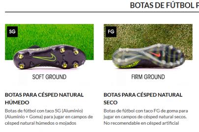 Tipos de suelas de botas de fútbol
