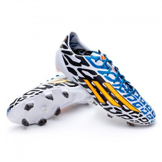 Bota  adidas adizero F50 TRX FG Messi WC Blanca-Solar gold-Negra