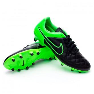 Chuteira  Nike Tiempo Genio Leather FG Black-Green strike