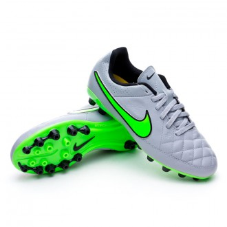 Chuteira  Nike Jr Tiempo Genio Leather AG Wolf grey-Green strike-Black