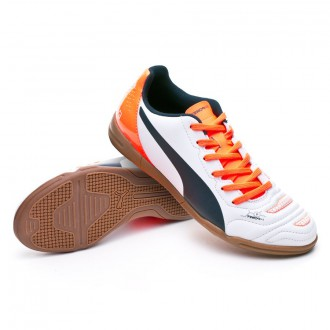 Zapatilla de fútbol sala  Puma Jr evoPOWER 4.2 IT White-Total eclipse-Lava blast