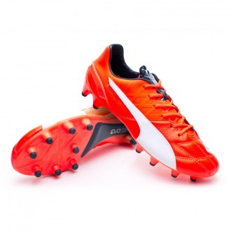 Boot  Puma evoSPEED 1.4 Leather FG Lava blast-White-Total eclipse