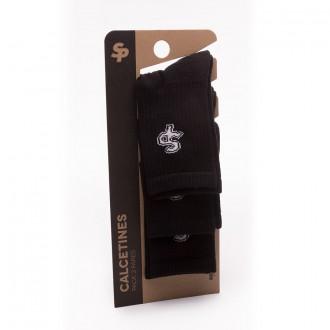 Pack  Soloporteros 3 Calcetines Media Caña Con Rizo Negros