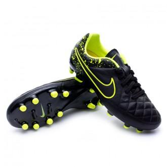 Chuteira  Nike Jr Tiempo Genio Piel FG Black-Volt