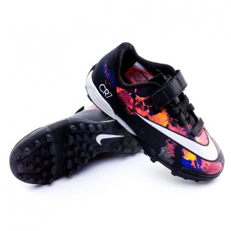 Bota  Nike Jr Mercurial Vortex 2 Velcro Turf CR Black-White-Total crimson-Purple