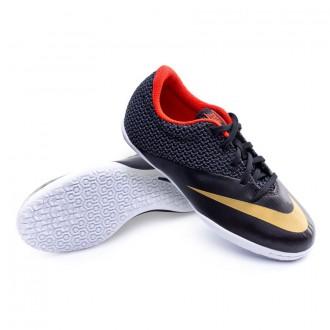 Zapatilla  Nike Jr MercurialX Pro IC Black-Metallic gold-Challenge red-White