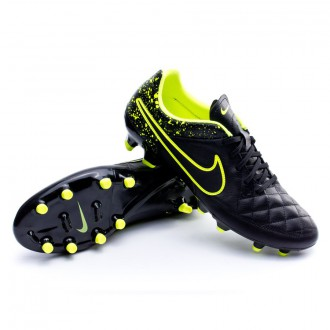Chuteira  Nike Tiempo Genio Piel FG Black-Volt
