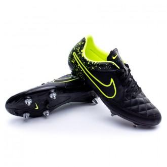 Chuteira  Nike Tiempo Genio Leather SG Black-Volt