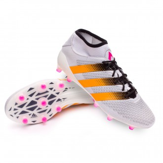 Chuteira  adidas Ace 16 + Primeknit FG/AG Mujer White-Solar gold-Shock pink